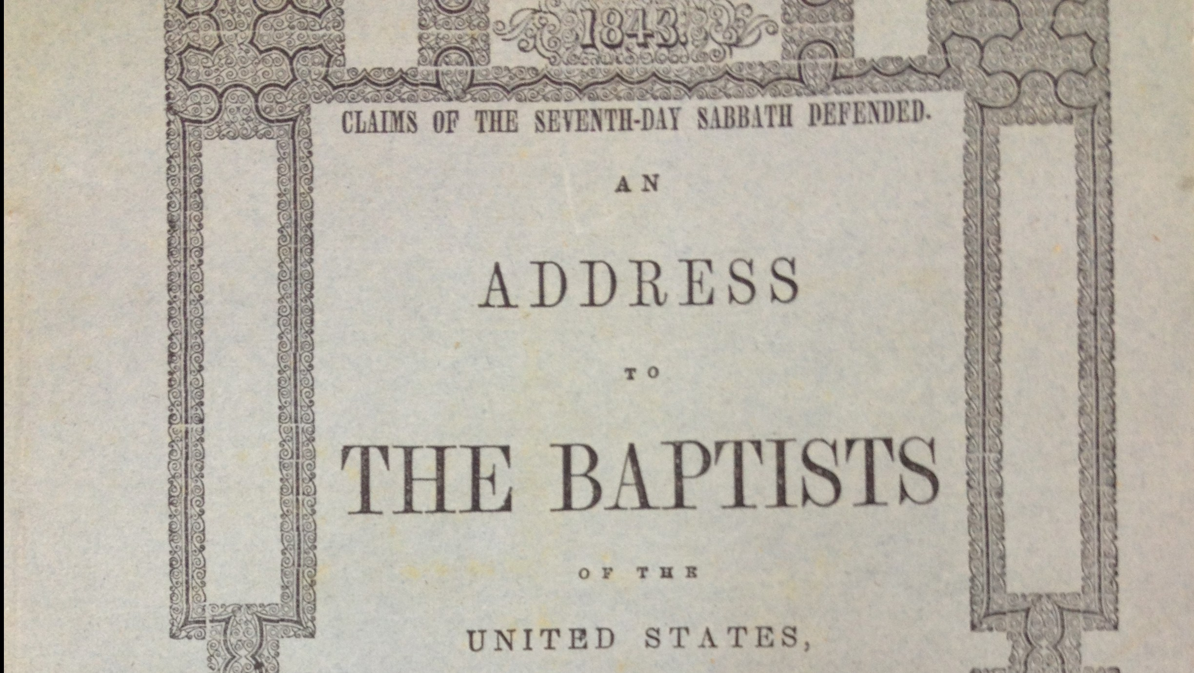 Letter to the Baptists, 1843